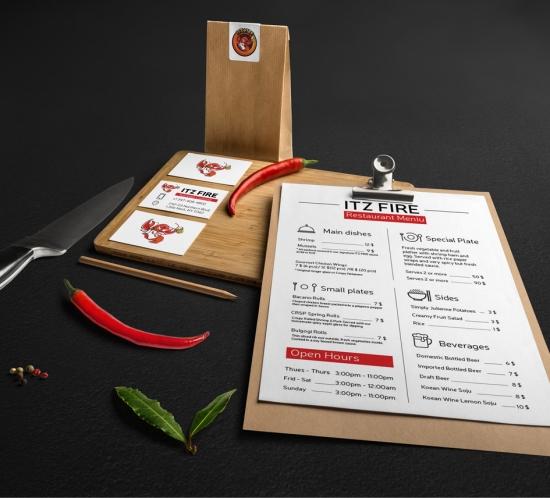 itz fire menu design brand identity - wedesign360.com - design agency
